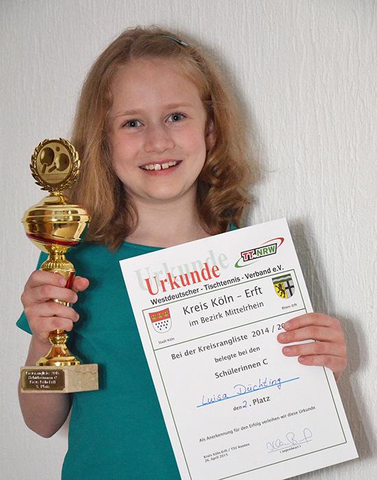 Düchting  Luisa Düchting wurde 2. in Kreisrangliste | TTG Langenich